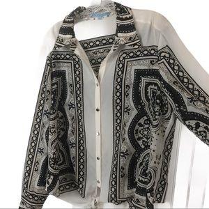ANTONIO MELANI Bandana Print Style Tie Front Top